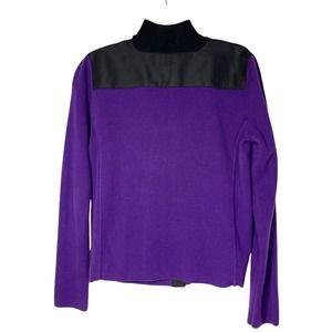 Lauren Ralph Lauren Purple Cotton Zip Cardigan M